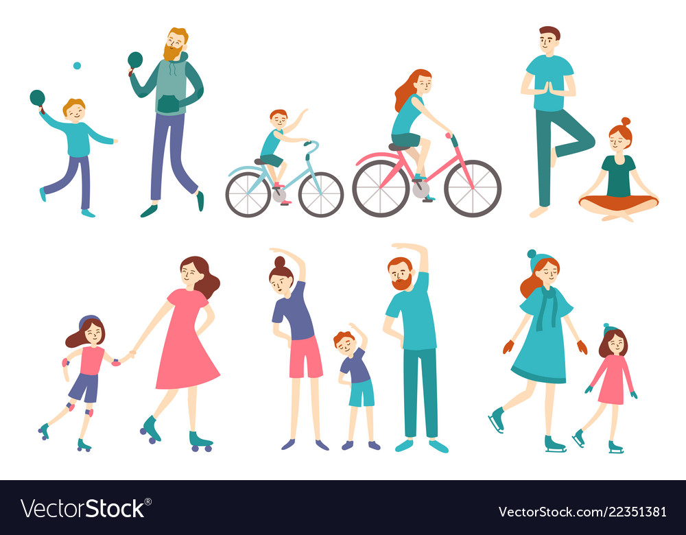 Sport family people couple with kids on fitness