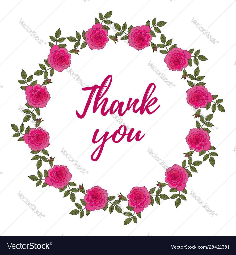 Thank you card with rose wreath