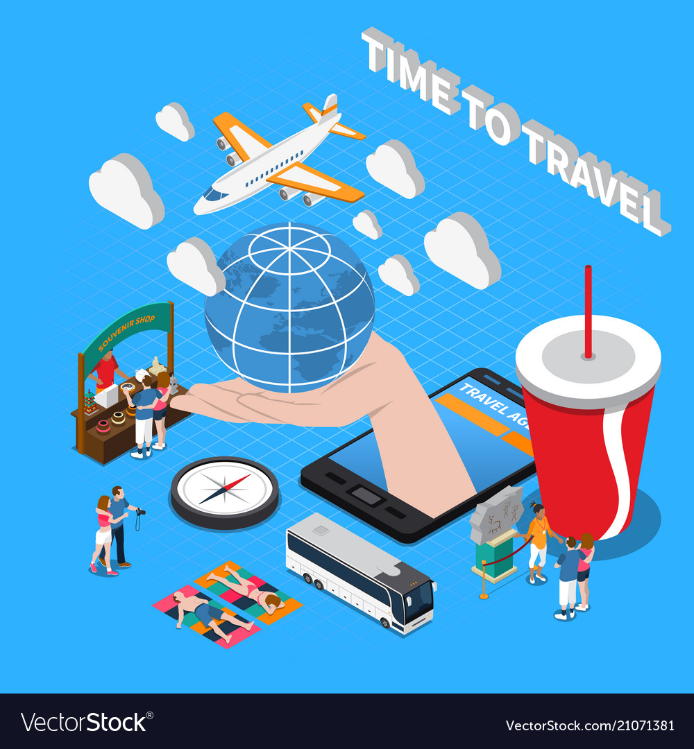 Time to travel isometric composition