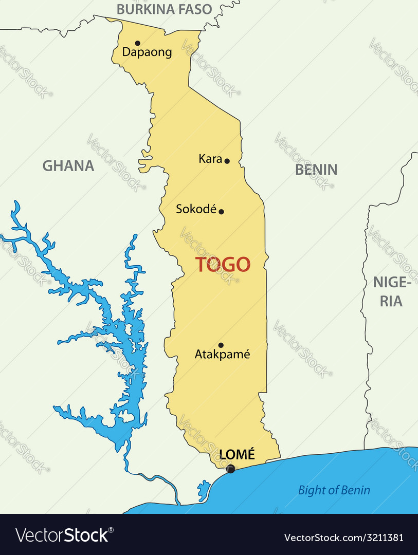 Togo - Togolese Republic - map Royalty Free Vector Image