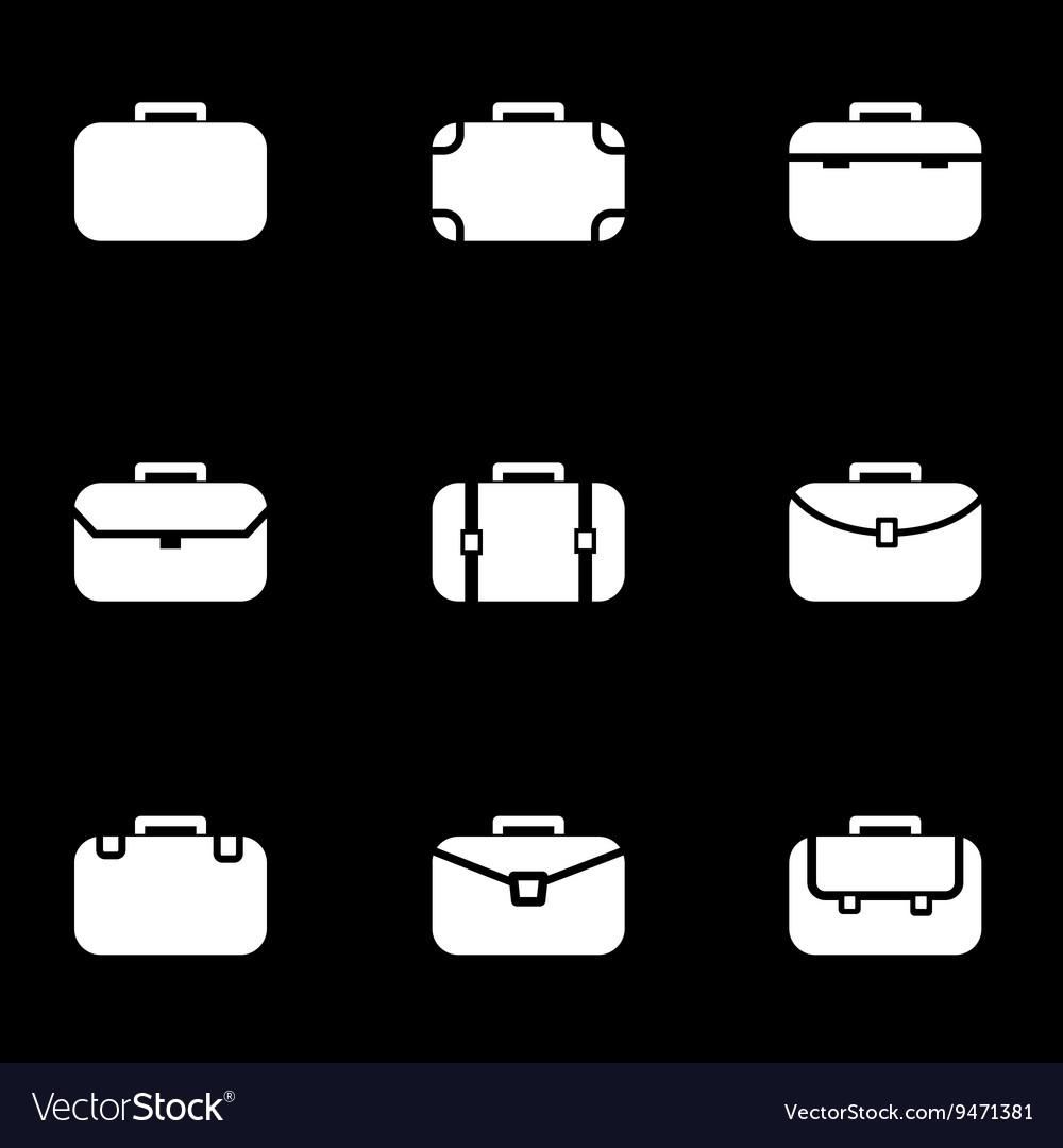 White briefcase icon set
