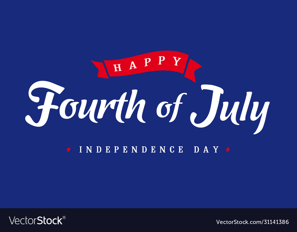 4th july independence day lettering blue banner