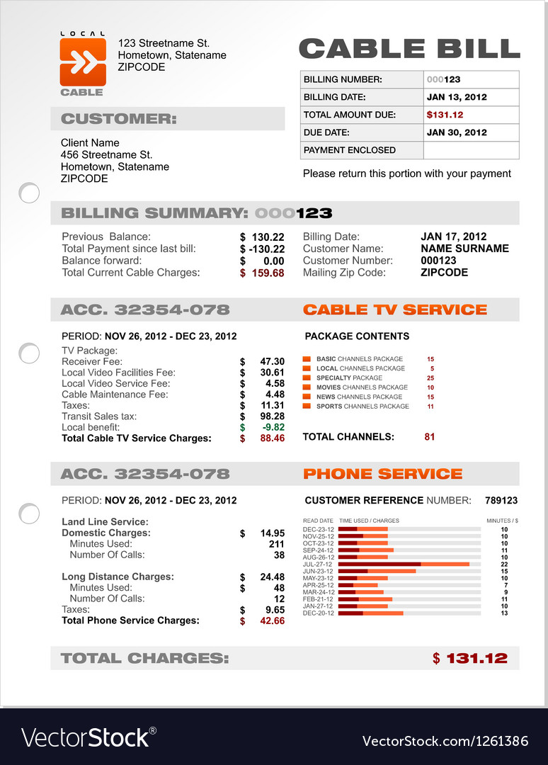 Cable Service Phone Bill Document Sample Template vector image