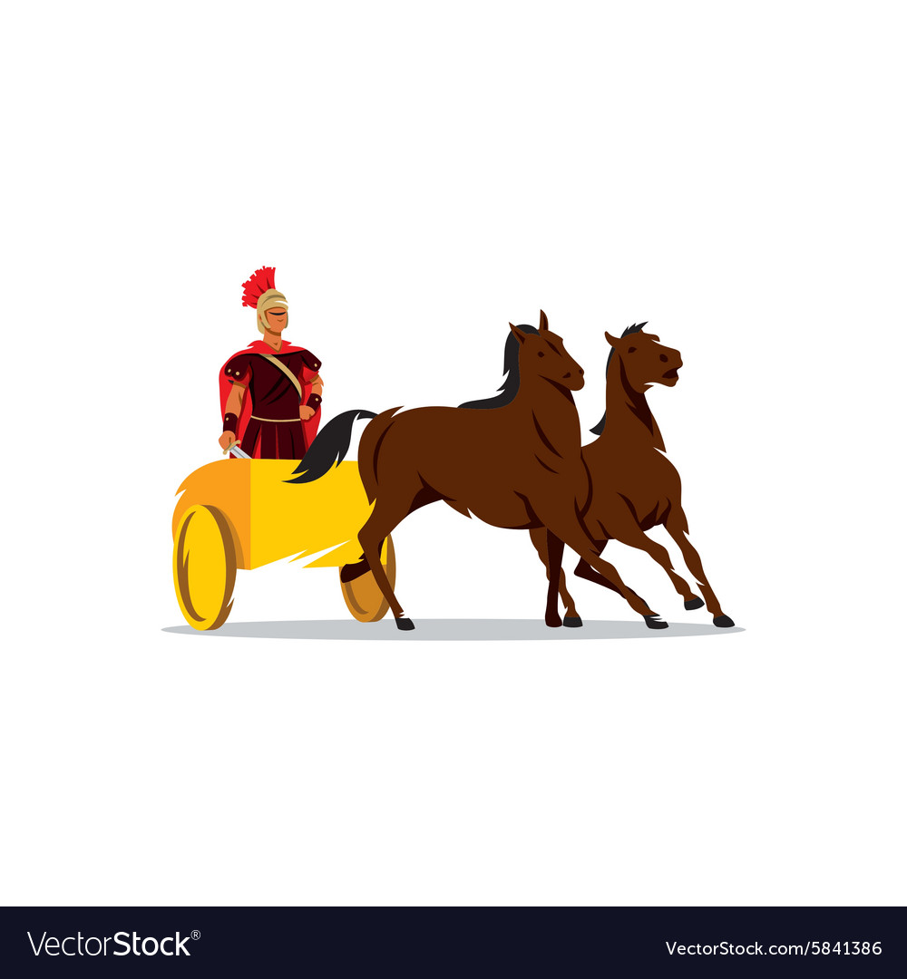 Chariot with a Roman gladiator sign vector image