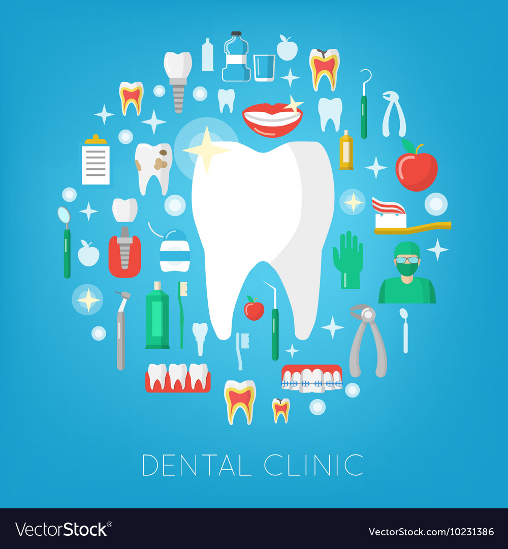 Dental Clinic and Care Icons with Tooth vector image