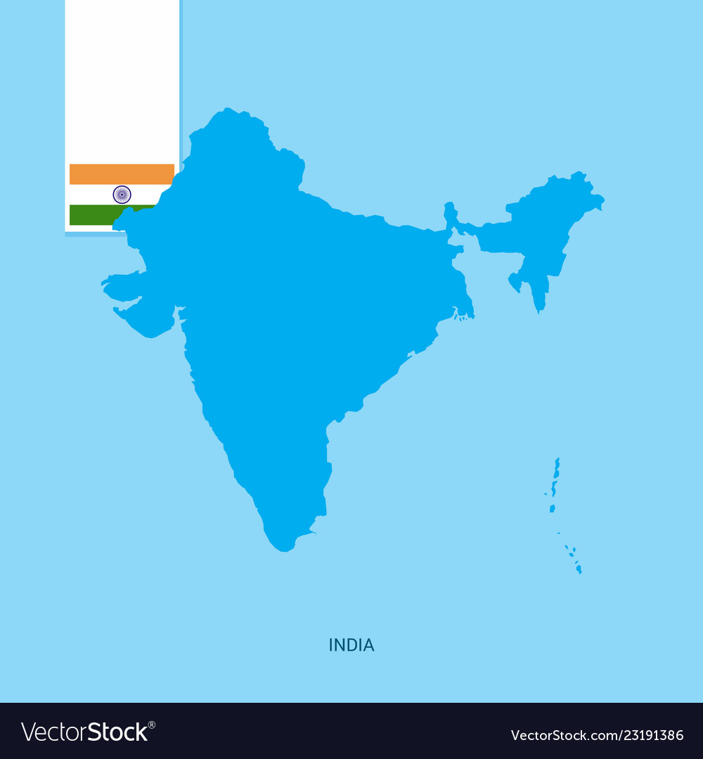 India country map with flag over blue background Vector Image