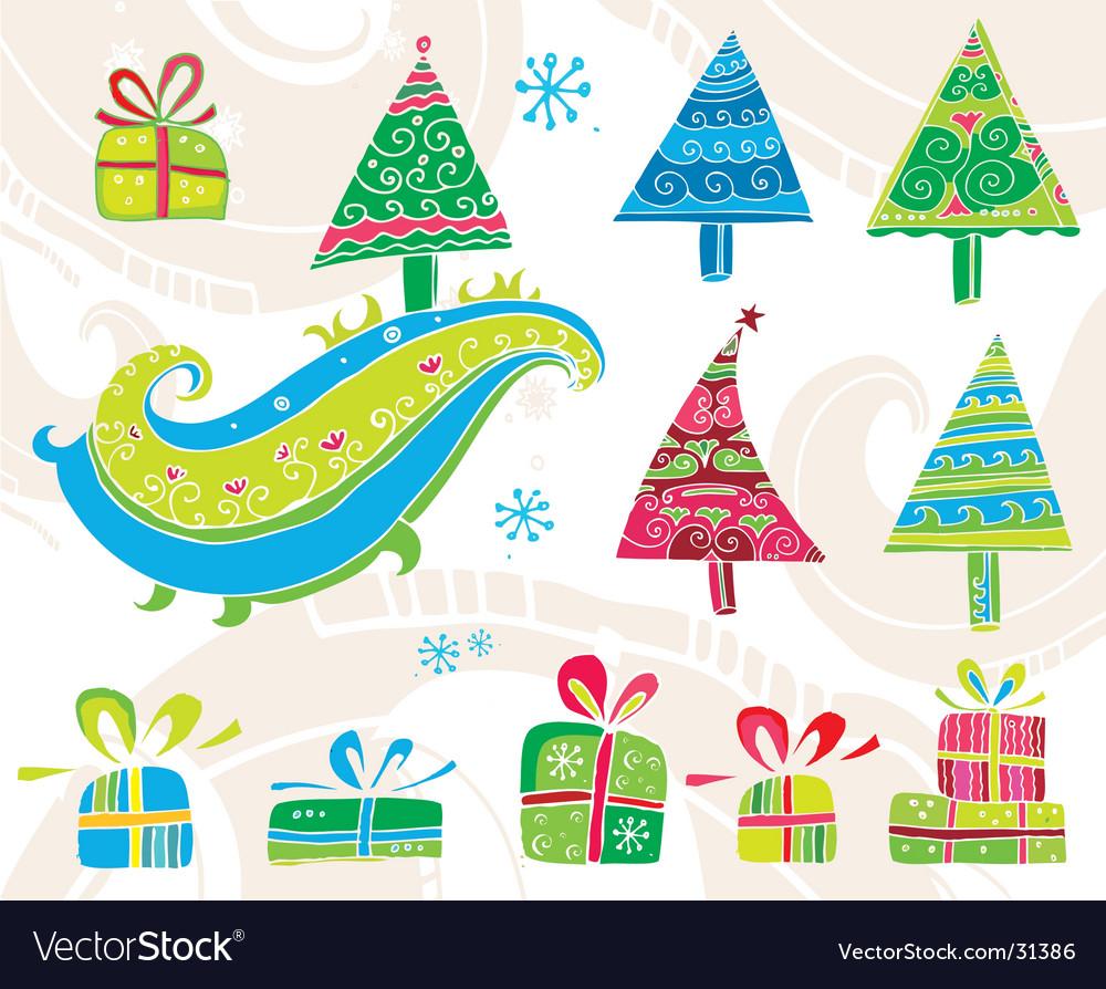 Set of Christmas trees