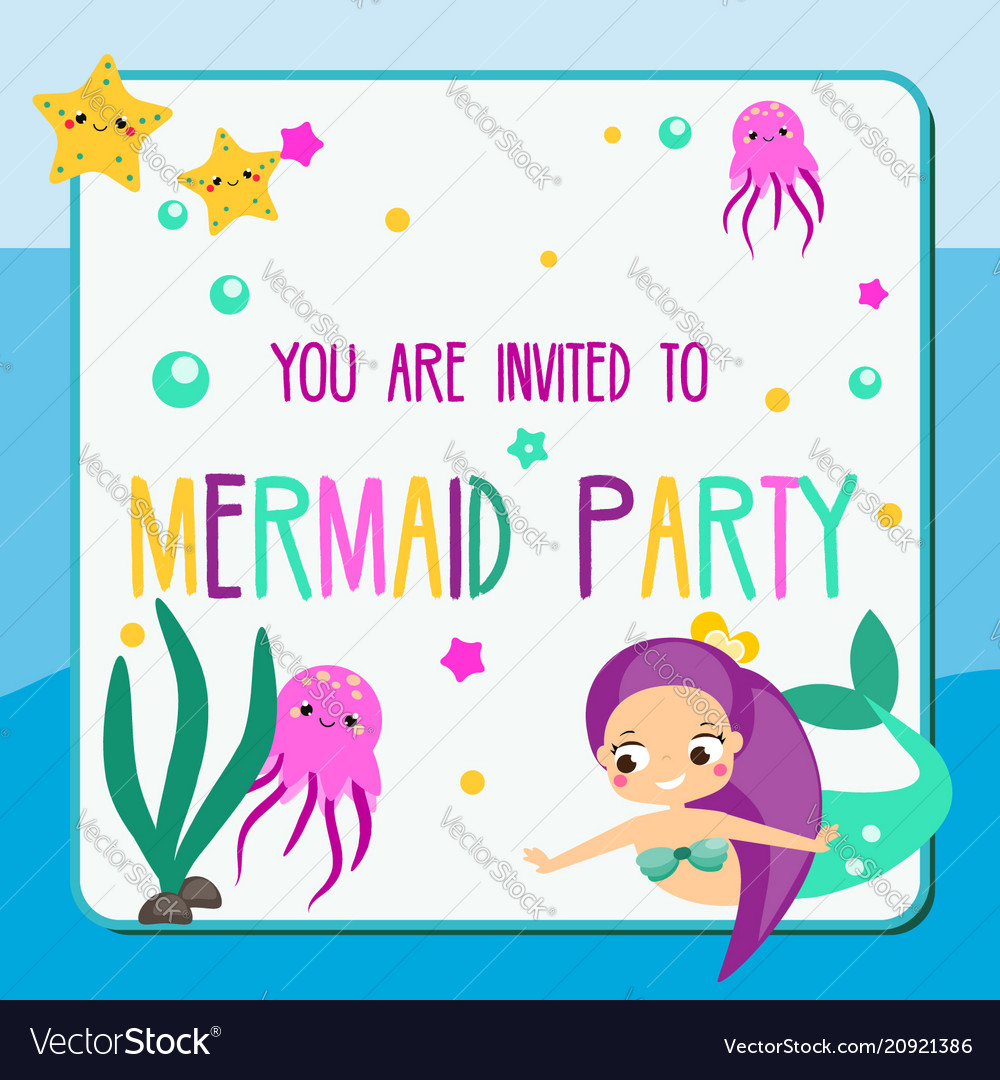 Summer mermaid party flyer children holiday party vector image