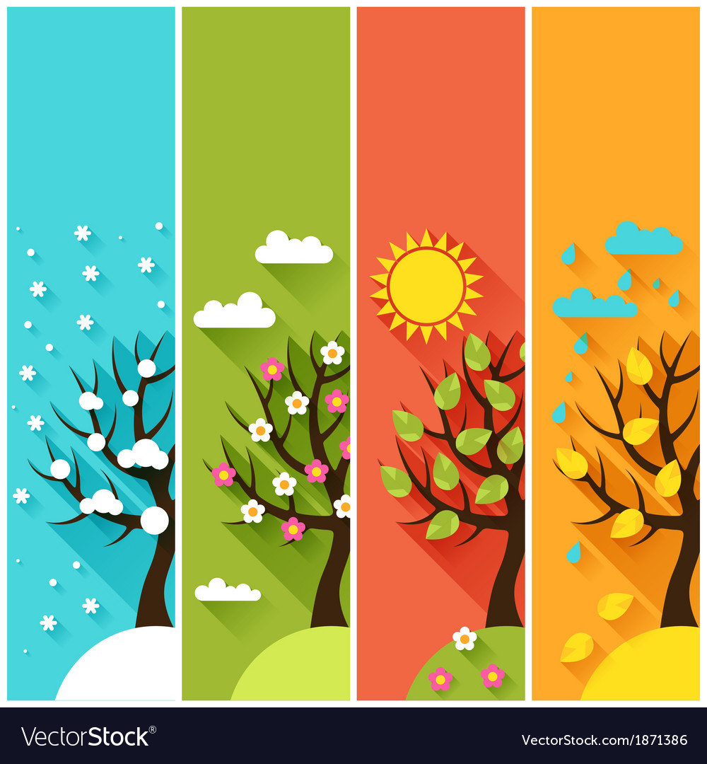 Vertical banners with winter spring summer autumn Vector Image