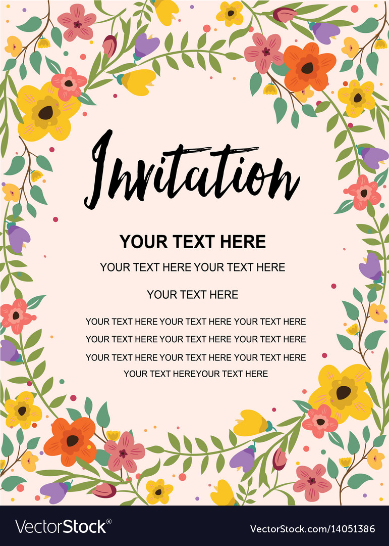 Whimsical floral colorful invitation card template vector image