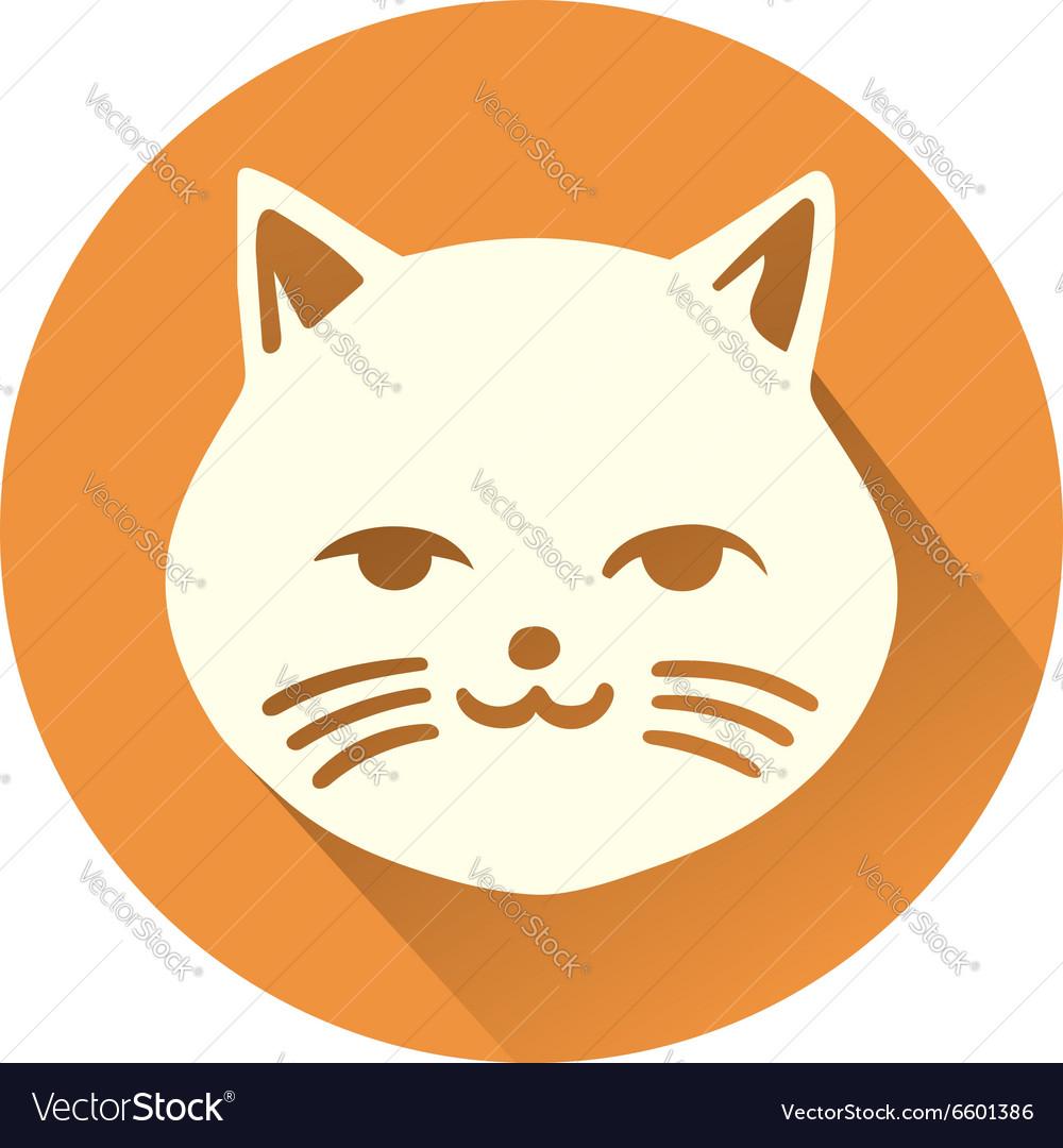 White Cat Symbol Royalty Free Vector Image Vectorstock