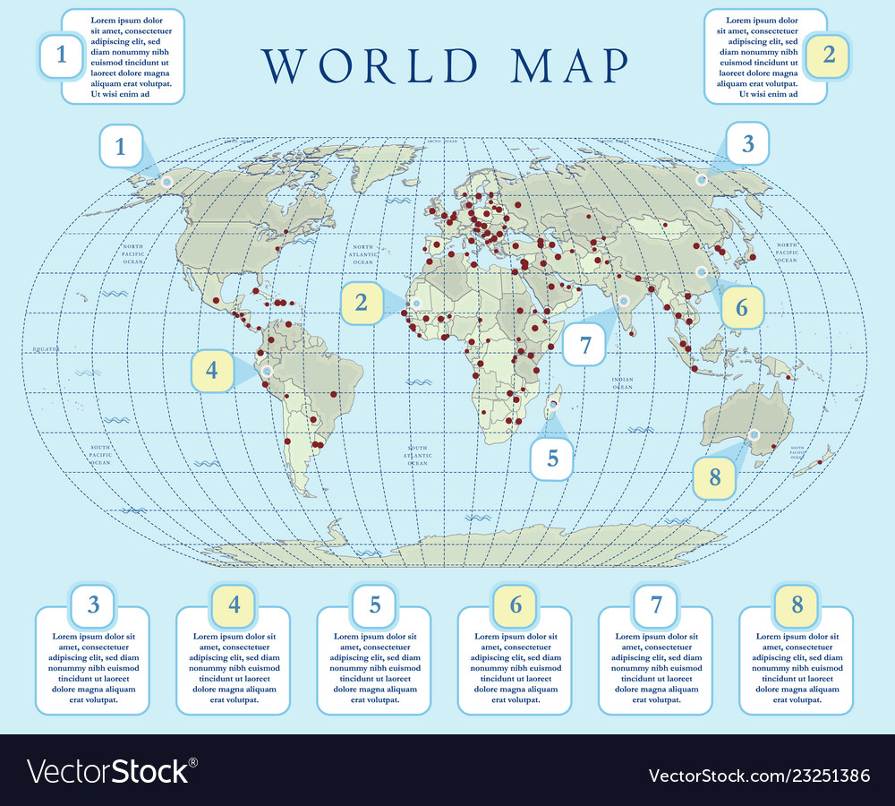South Pole World Map.World Map With Infographic Royalty Free Vector Image