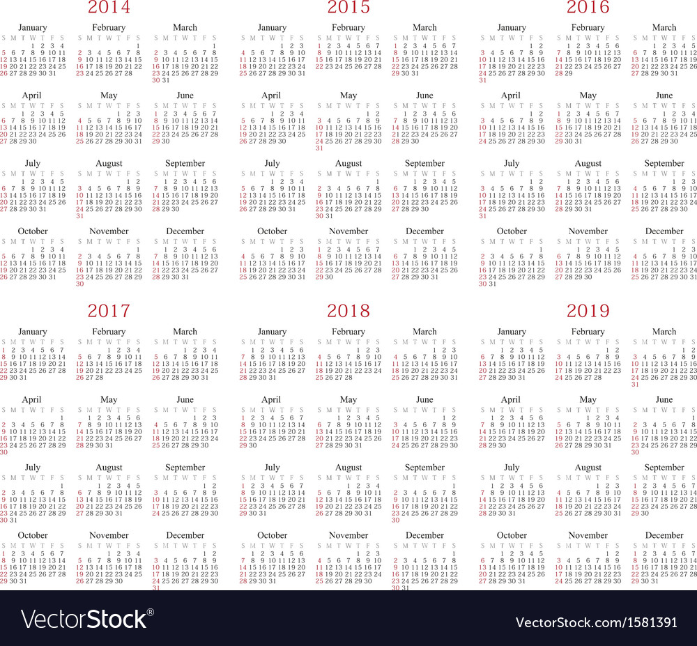 2014-2019 Yearly Calendar Calendar 2014 2019 Royalty Free Vector Image   VectorStock