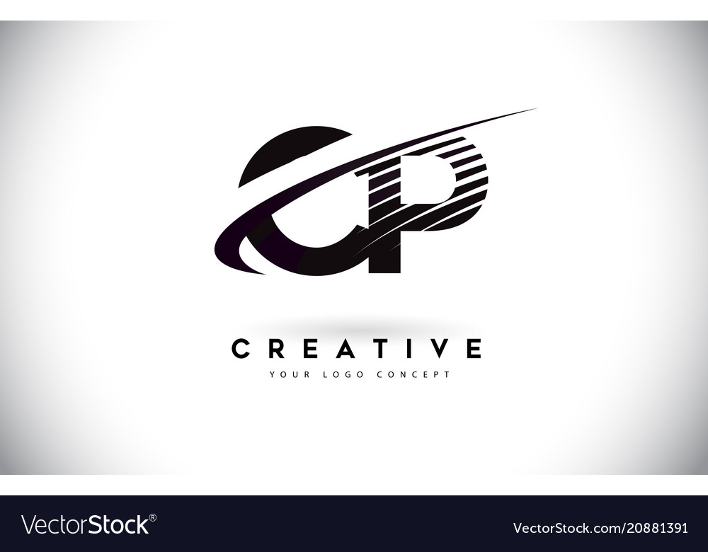 Cp c p letter logo design with swoosh and black