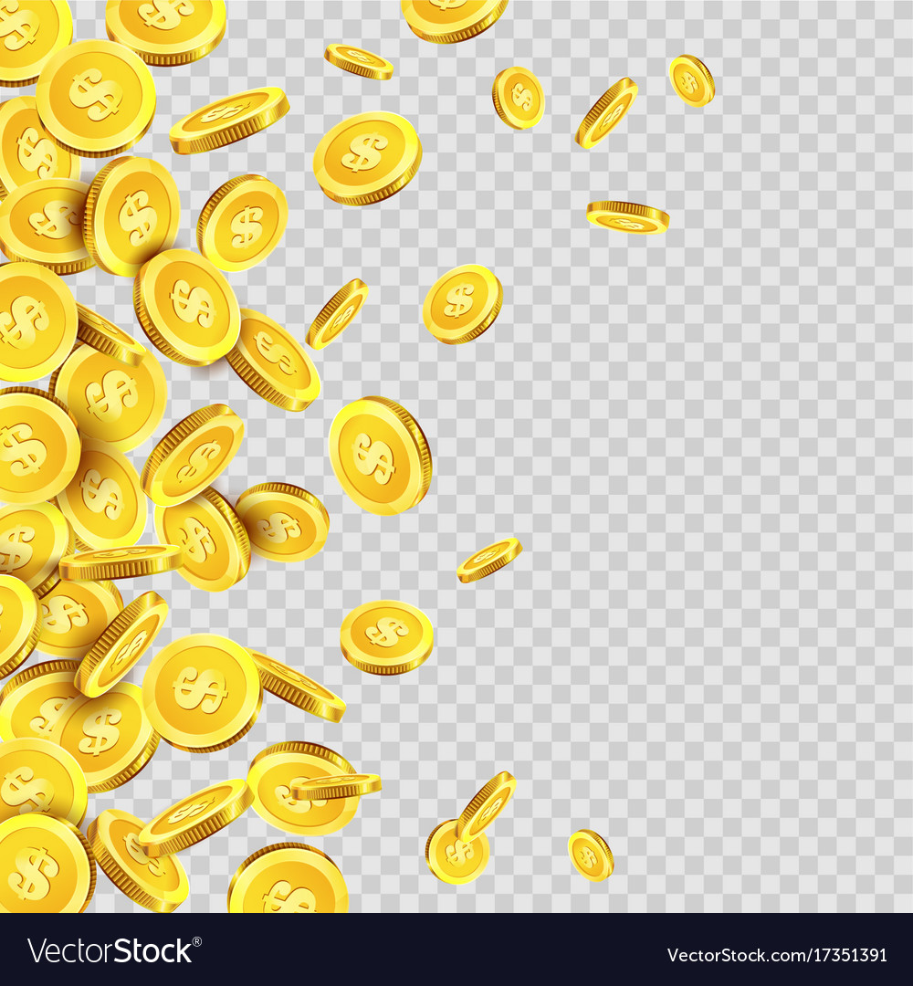 Gold coins rain or golden money coin pattern on vector image