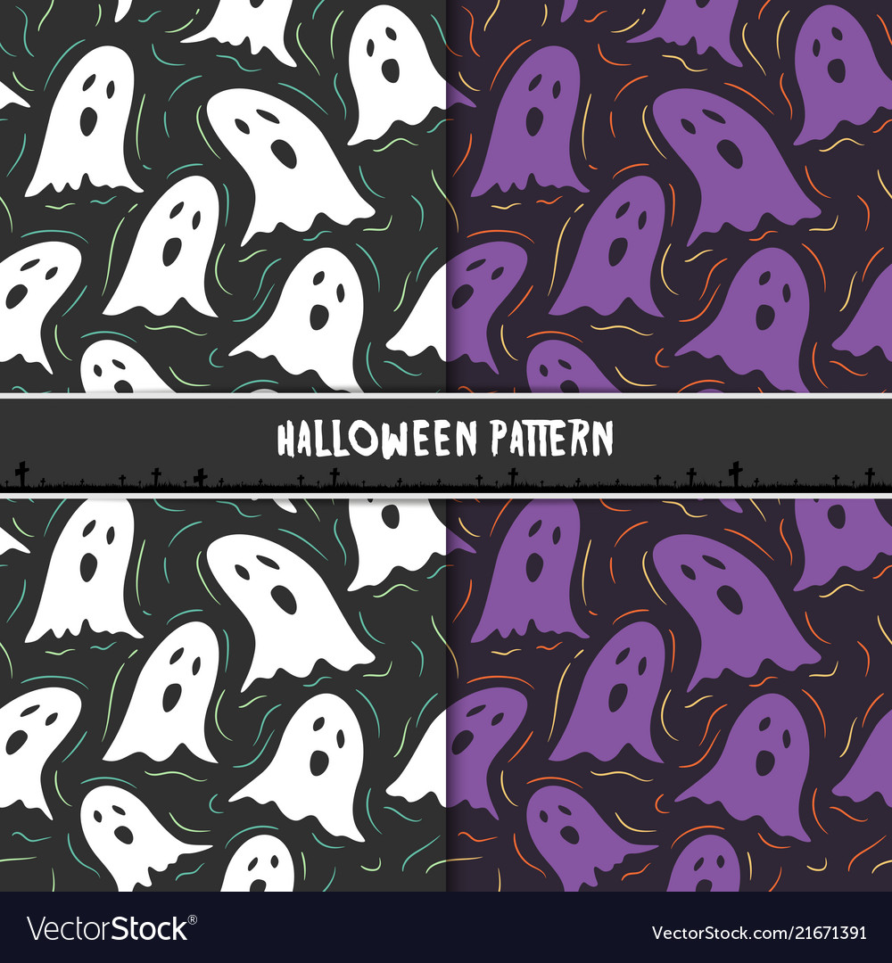 Halloween seamless pattern with cute cartoon