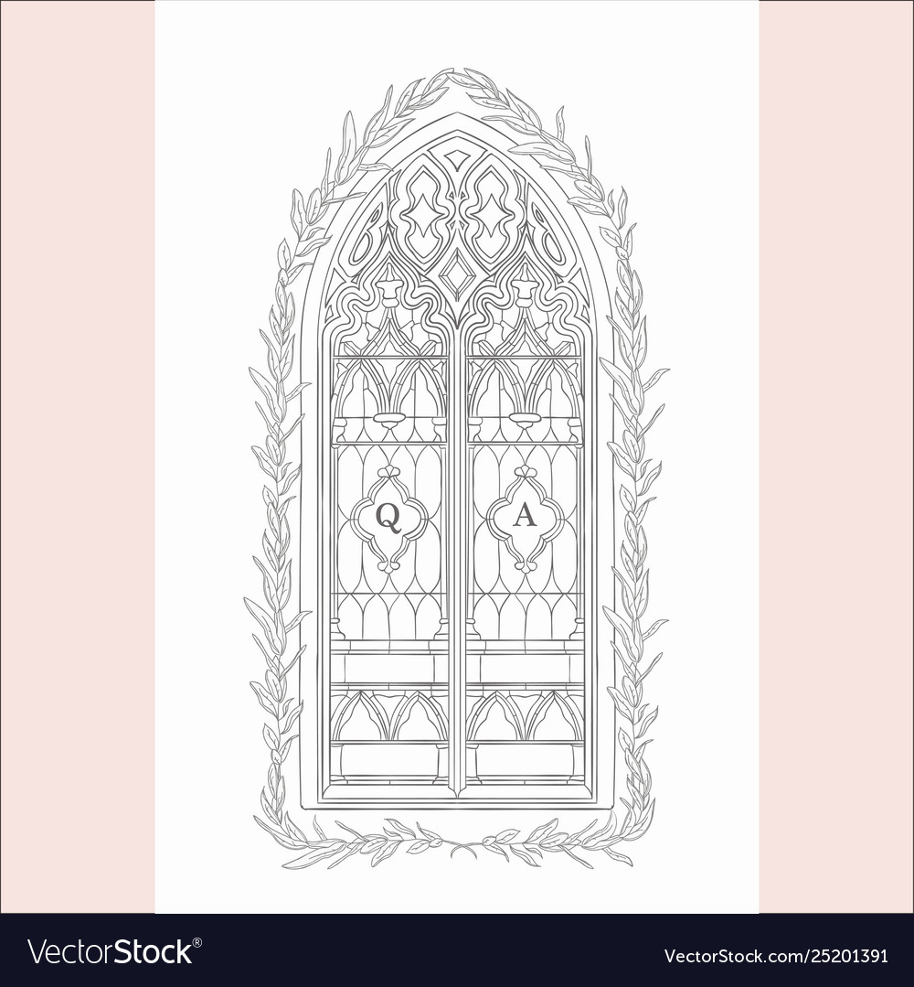 Hand drawn old gothic window