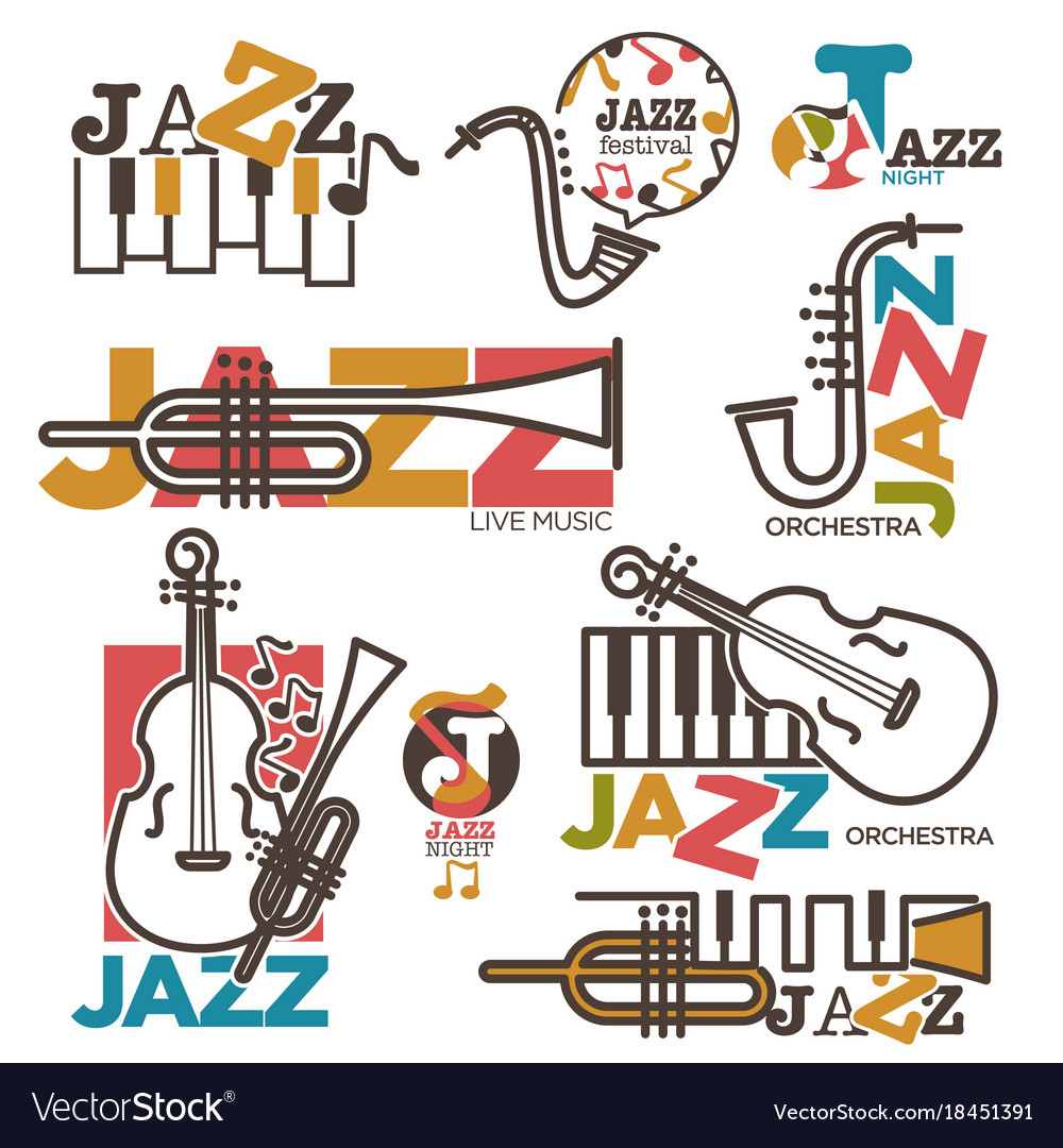 Jazz night or live music festival concert logo