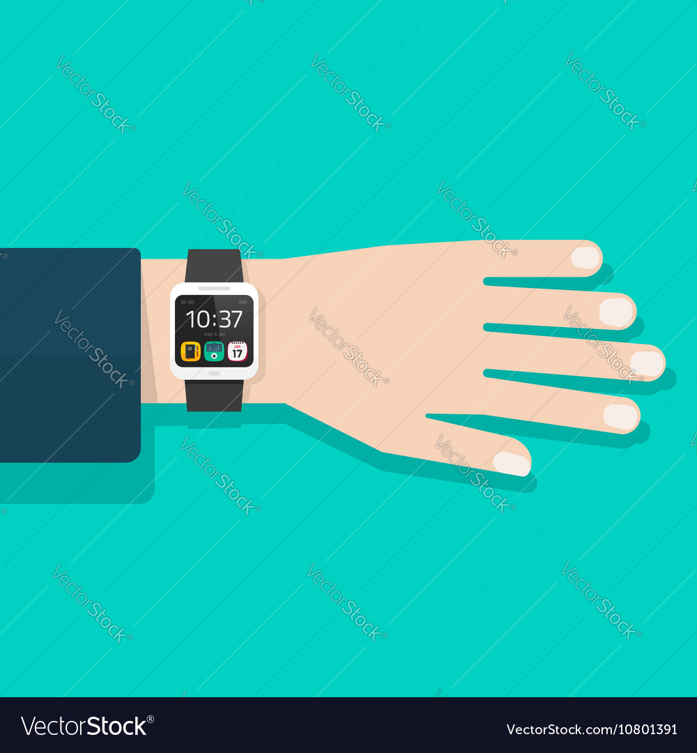 Man hand with smart watch