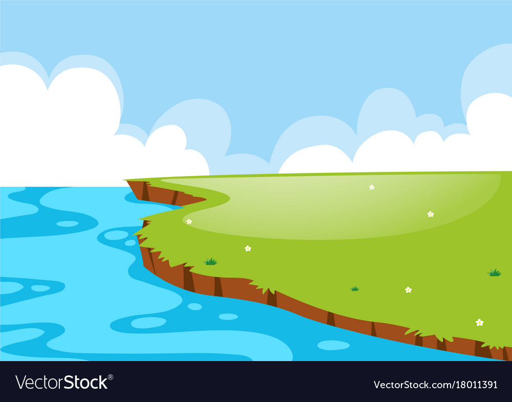 Nature scene with field and lake vector image