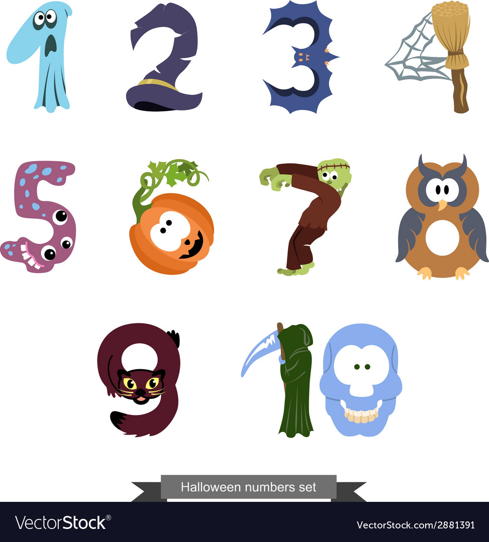 Numbers like symbols of the Halloween vector image