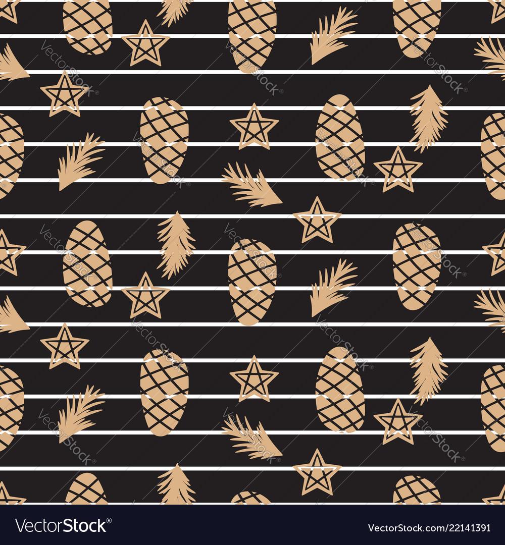 Pine cone and stars winter black seamless pattern