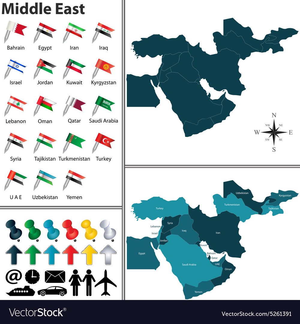 Map, Of, Middle, East & Qatar Vector Images (60) Qatar Middle East Map on