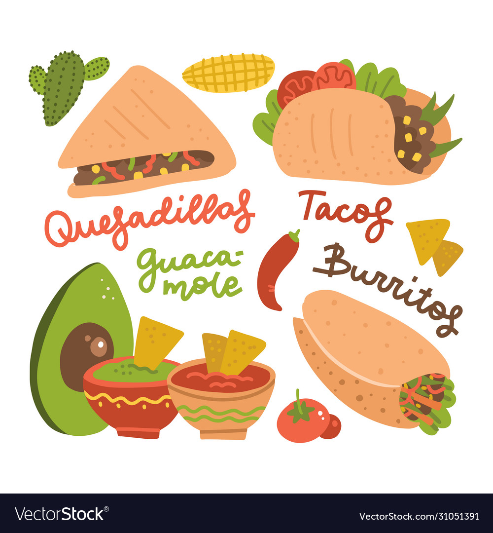 Set mexicantraditional food- taco burrito vector