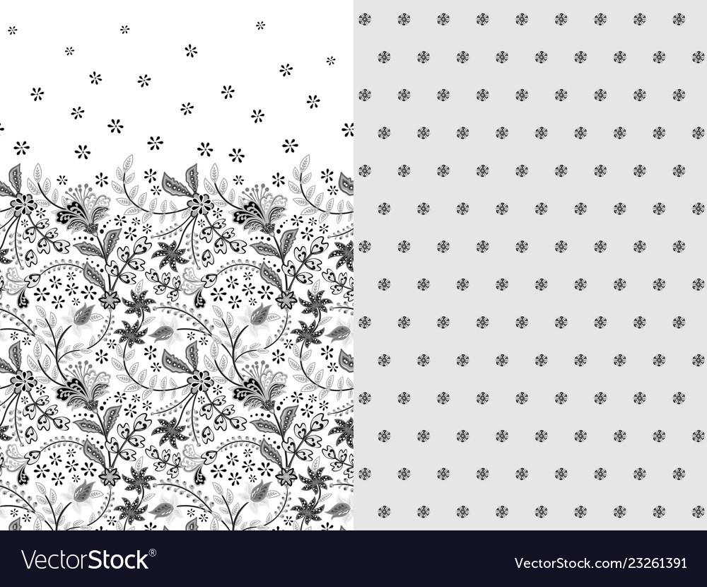 Set two horizontal seamless floral pattern