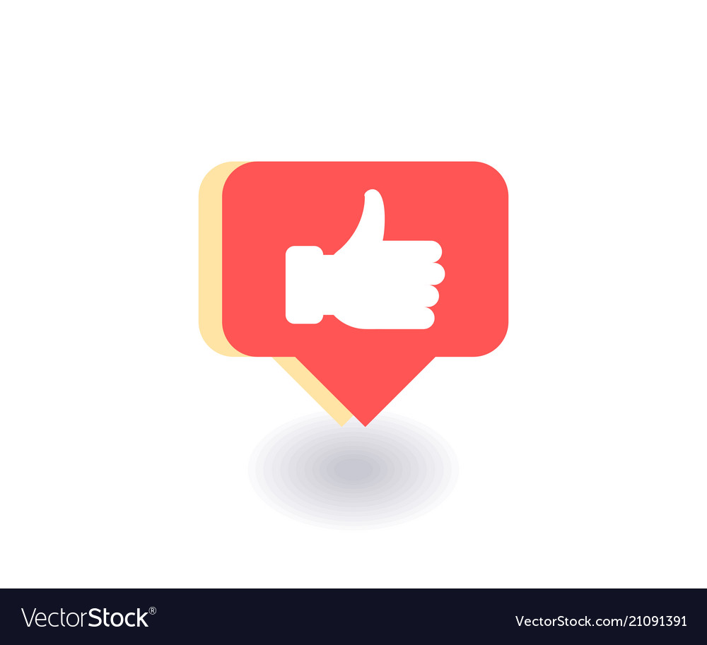 Thumbs up like icon symbol in flat style