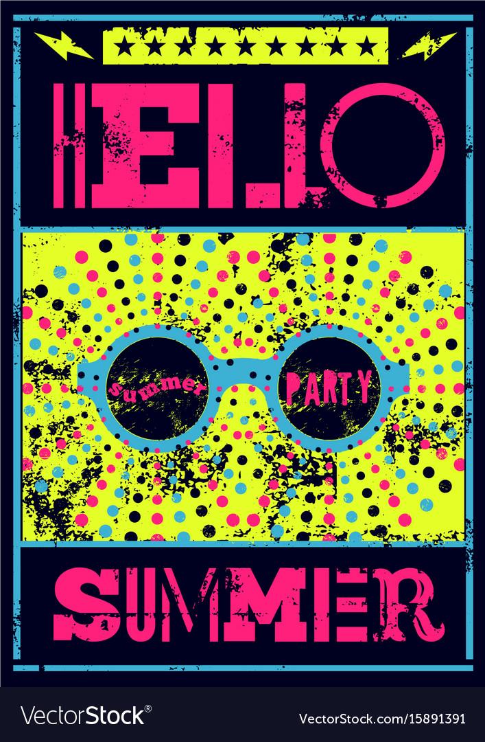 Typographic summer party grunge retro poster