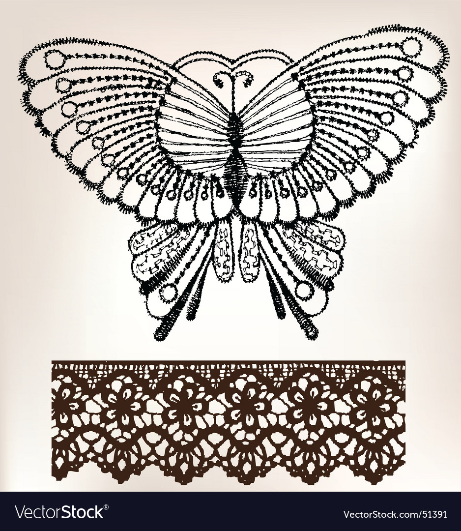 Vintage lace embroidery vector image