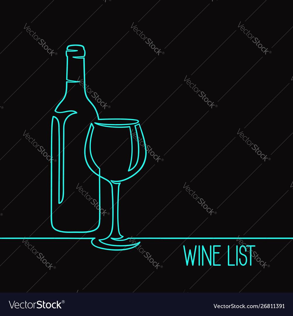 Wine one line art
