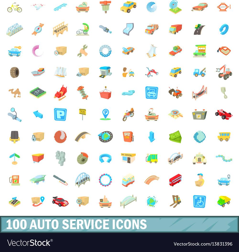 100 autoservice icons set cartoon style
