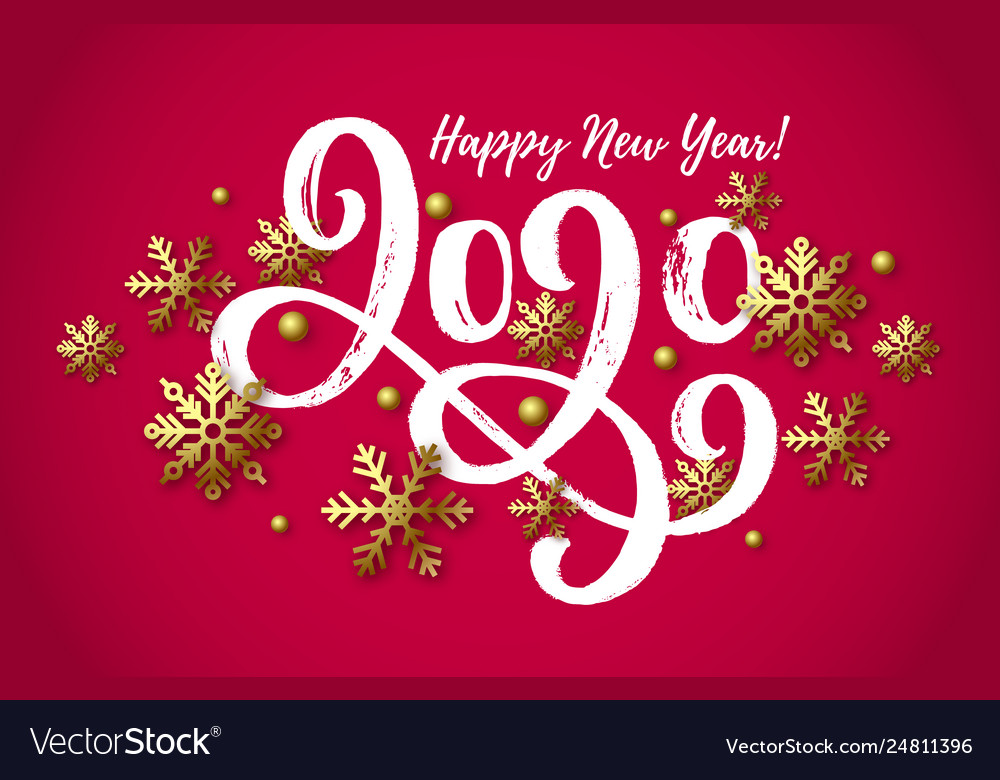 2020 hand drawn lettering new year card