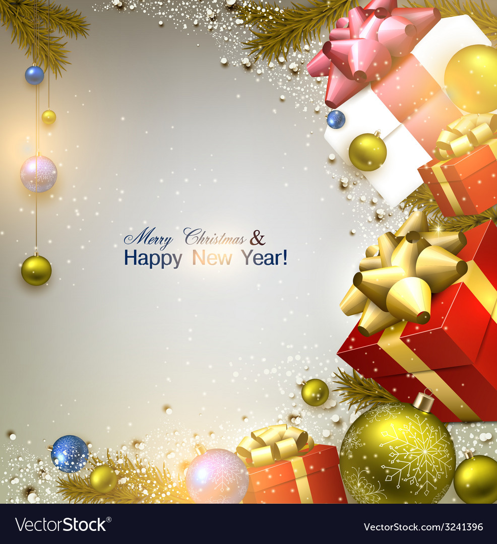 Christmas background with fir twigs gifts and vector image