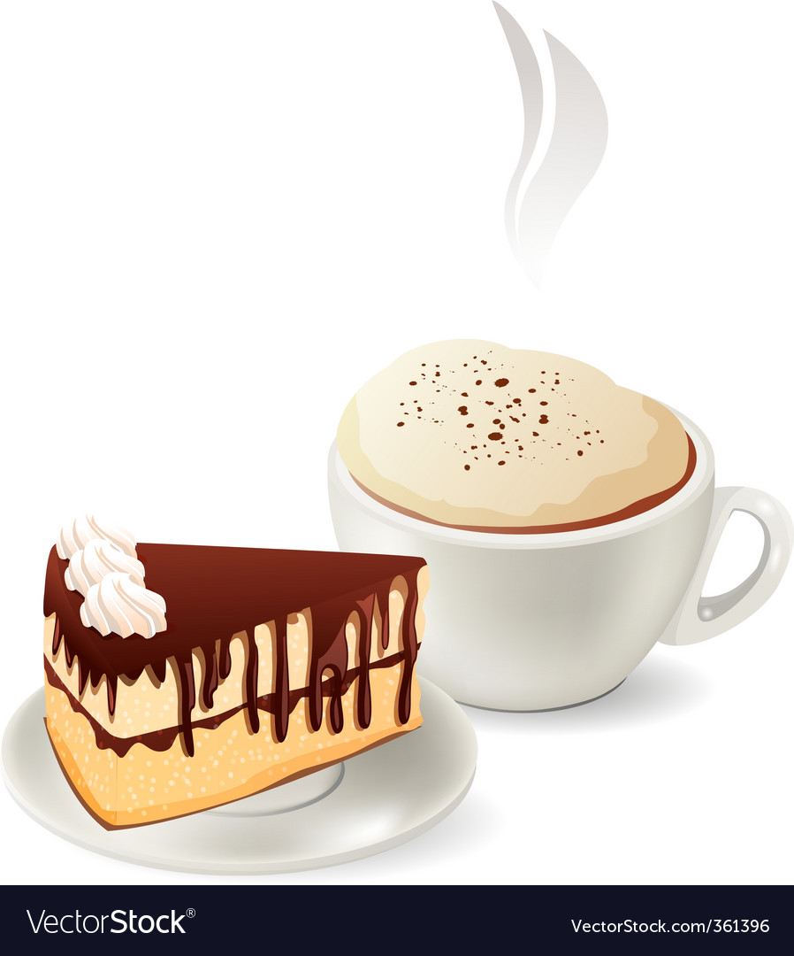 Cup of hot coffee with cake vector image