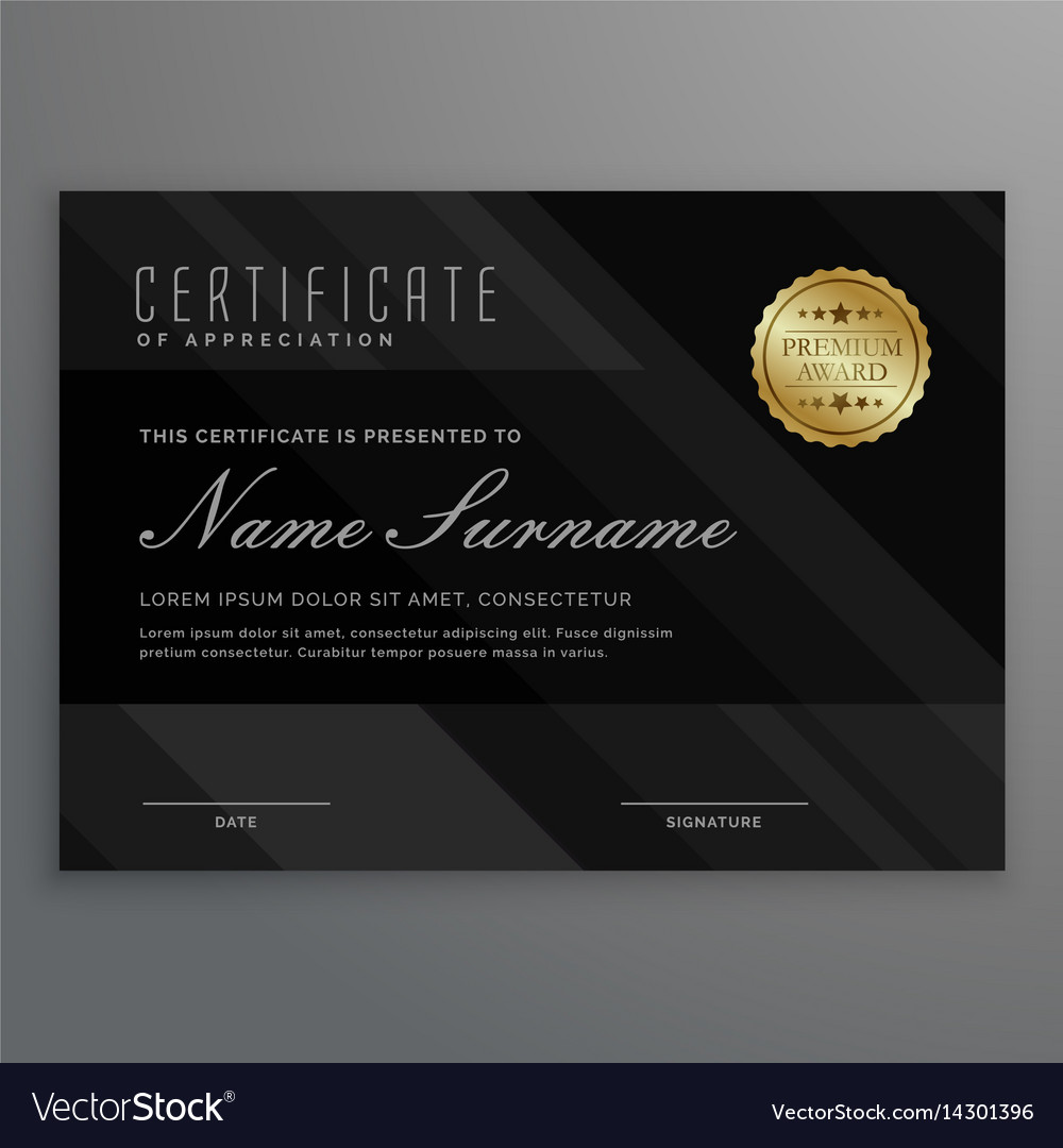 Dark diploma certificate creative design with