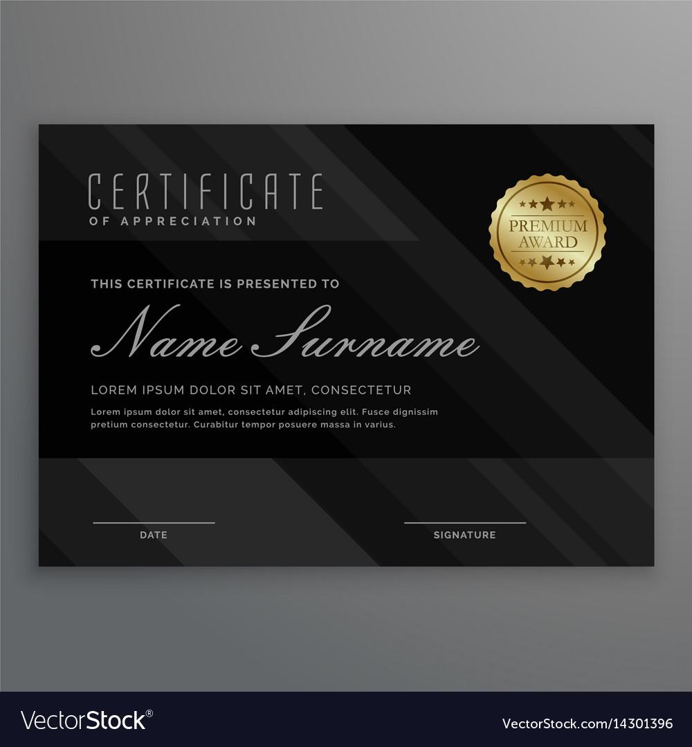 Dark diploma certificate creative design with vector image