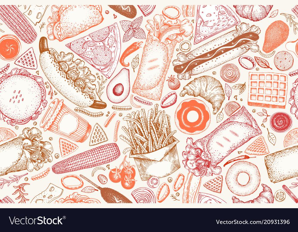Fast food hand drawn seamless pattern