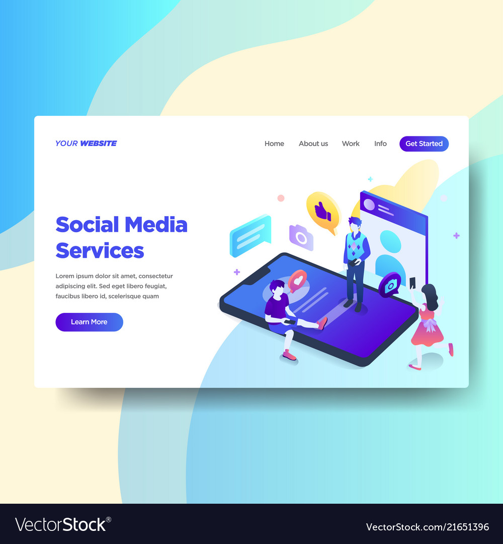 Landing page template social media services