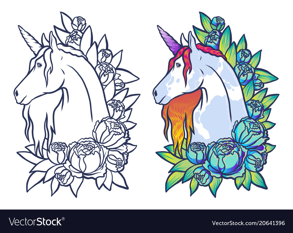 Magical cute unicorn cartoon fantasy