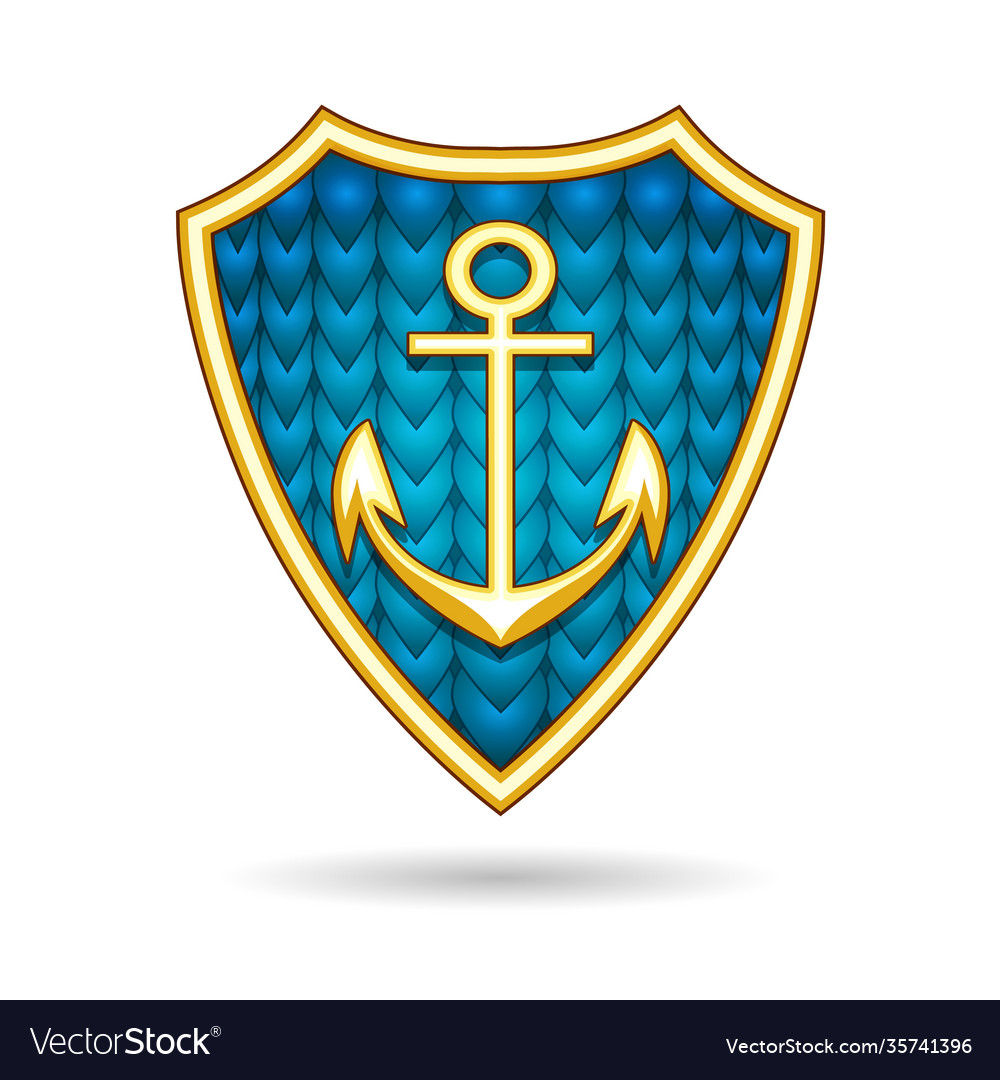 Nautical emblem with anchor on a shield