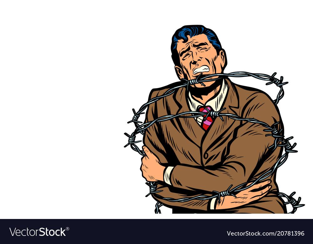 Political prisoner in barbed wire