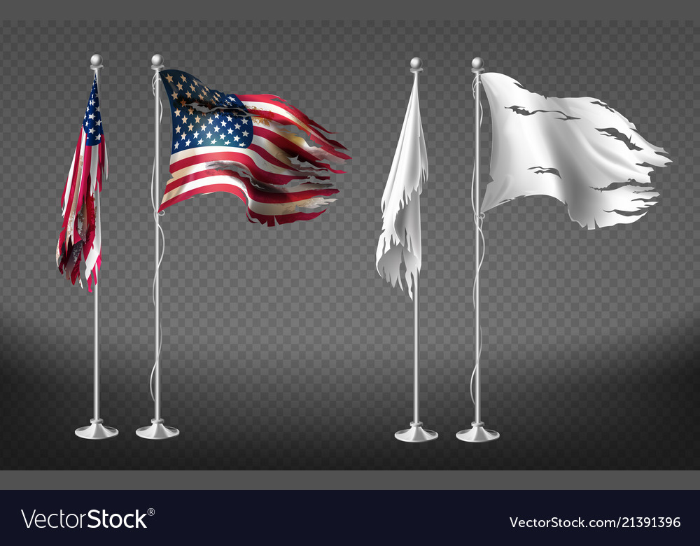 Realistic clipart with damaged dirty flags