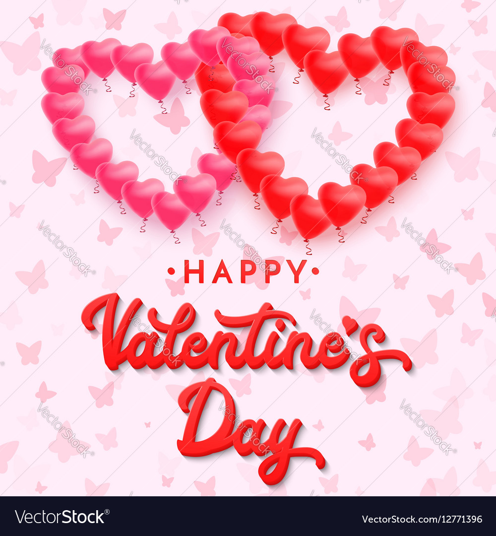Red 3d Lettering Happy Valentines Day Balloons Vector Image