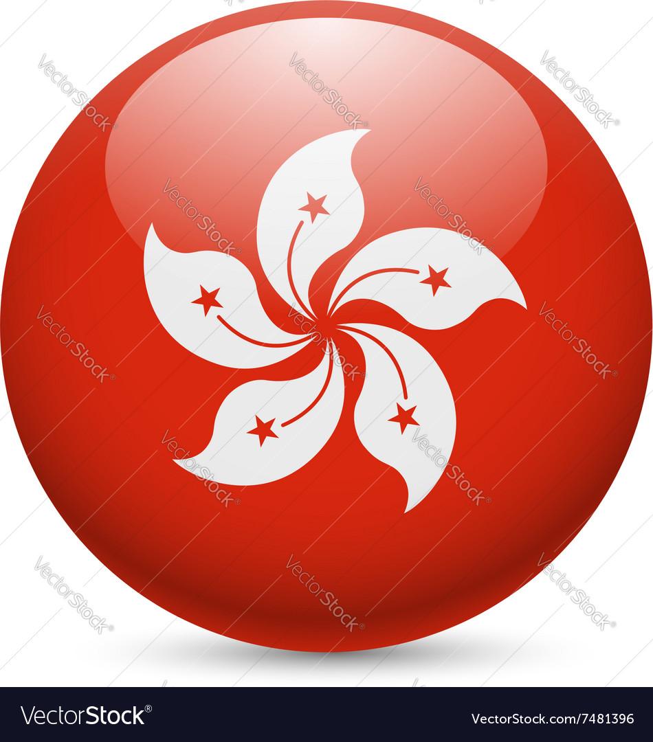 Round glossy icon of hong kong