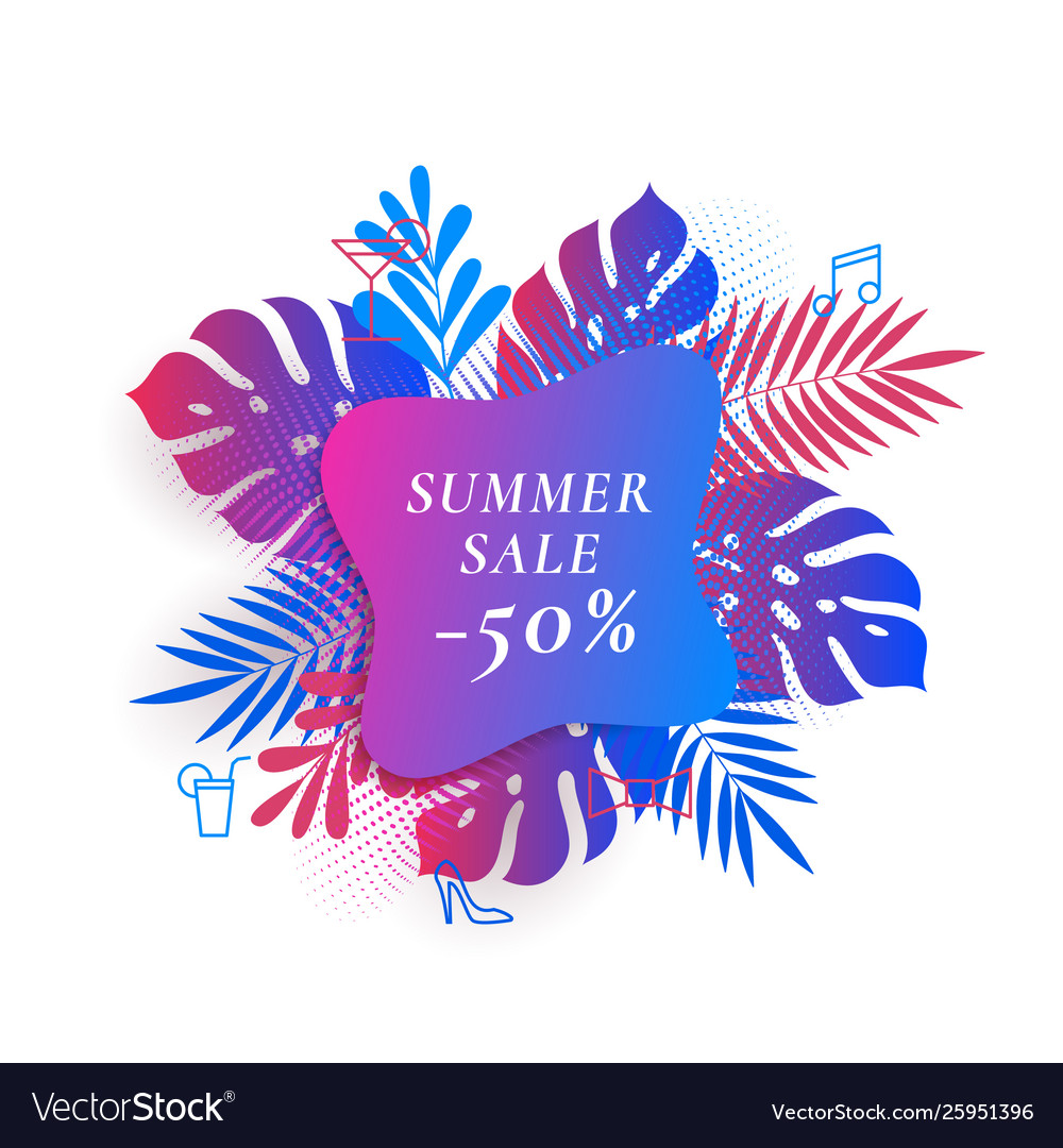 Tropical palm leaves summer sale card or banner