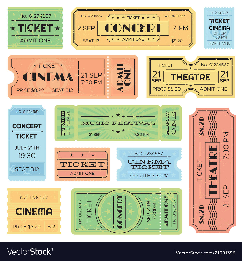 Vintage admitted cinema music festival pass
