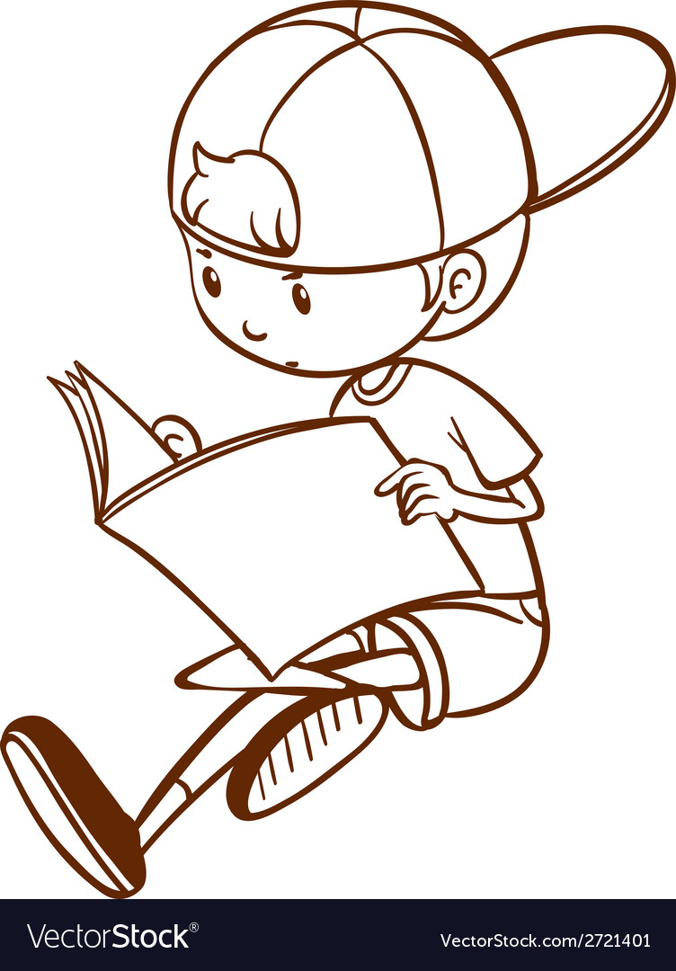 A simple sketch of a boy reading vector image